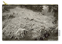 Carry-all Pouch featuring the photograph Sunny Gator Sepia  by Joseph Baril