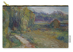 Sunny Morning In The Park -wetlands - Original - Textural Palette Knife Painting Carry-all Pouch by Quin Sweetman