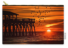 Sunrise In Myrtle Beach With Birds Flying Around The Pier Carry-all Pouch