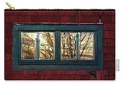 Carry-all Pouch featuring the photograph Sunrise In Old Barn Window by Susan Capuano