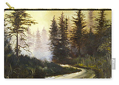Carry-all Pouch featuring the painting Sunrise In The Forest by Lee Piper