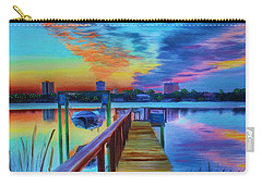 Carry-all Pouch featuring the painting Sunrise On The Dock by Deborah Boyd
