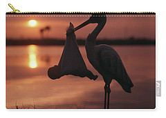 Sunrise Silhouette Of Stork Carrying Carry-all Pouch