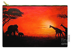 Carry-all Pouch featuring the painting Sunset At Serengeti by Sher Nasser