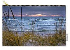 Sunset On The Beach At Lake Michigan With Dune Grass Carry-all Pouch