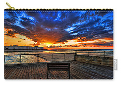 Carry-all Pouch featuring the photograph sunset at the port of Tel Aviv by Ron Shoshani