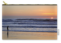 Carry-all Pouch featuring the photograph Sunset Beach Stroll  by AJ  Schibig
