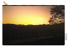 Carry-all Pouch featuring the photograph Sunset Behind Hills by Jonny D
