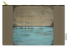 Carry-all Pouch featuring the painting Sunset Boats by Ben Gertsberg