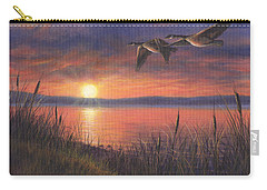 Carry-all Pouch featuring the painting Sunset Flight by Kim Lockman