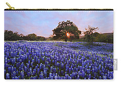 Sunset In Bluebonnet Field Carry-all Pouch by Susan Rovira