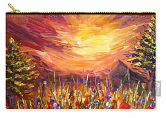 Carry-all Pouch featuring the painting Sunset In Poppy Valley  by Lilia D