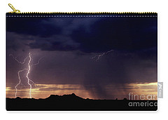 Carry-all Pouch featuring the photograph Sunset Lightning-signed by J L Woody Wooden