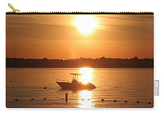 Carry-all Pouch featuring the photograph Sunset On Boat by Karen Silvestri