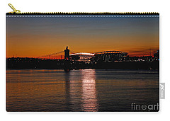Carry-all Pouch featuring the photograph Sunset On Paul Brown Stadium by Mary Carol Story