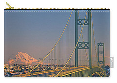 1a4y20-v-sunset On Rainier With The Tacoma Narrows Bridge Carry-all Pouch