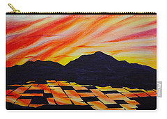 Carry-all Pouch featuring the painting Sunset On Rice Fields by Michele Myers
