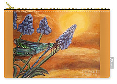 Carry-all Pouch featuring the painting Summer Sunset Over A Dragonfly by Kimberlee Baxter