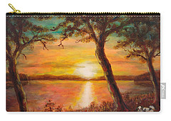 Sunset Over The Lake Carry-all Pouch by Martin Capek