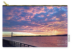 Sunset Over Verrazano Bridge And Narrows Waterway Carry-all Pouch by John Telfer