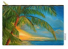Sunset Reflections - Key West Sunset And Palm Trees Carry-all Pouch by Shelia Kempf