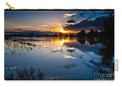 Carry-all Pouch featuring the photograph Sunset Reflections by Steven Reed