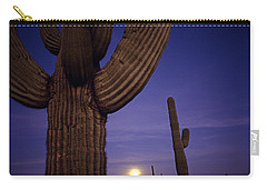 Sunset With Moonise Behind Saguaro Cactus In Desert Southwest Ar Carry-all Pouch