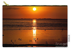 Carry-all Pouch featuring the photograph Sunset With The Birds Photo by Meg Rousher