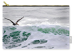 Carry-all Pouch featuring the photograph Surf N Pelican by AJ  Schibig