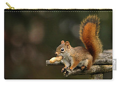 Surprised Red Squirrel With Nut Portrait Carry-all Pouch by Debbie Oppermann