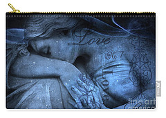 Surreal Blue Sad Mourning Weeping Angel Lost Love - Starry Blue Angel Weeping With Love Script Carry-all Pouch