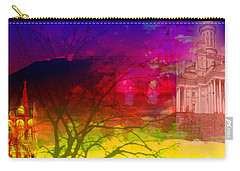 Carry-all Pouch featuring the digital art Surreal Buildings  by Cathy Anderson