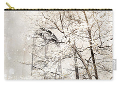 Surreal Dreamy Winter White Church Trees Carry-all Pouch