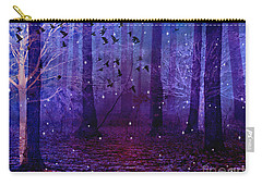 Surreal Fantasy Starry Night Purple Woodlands - Purple Blue Fantasy Nature Fairy Lights  Carry-all Pouch by Kathy Fornal