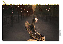 Surreal Gothic Angel Haunting Emotive Angel Sitting On Bench -fantasy Surreal Gothic Angel Prints Carry-all Pouch