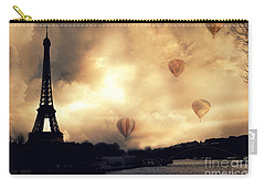 Paris Eiffel Tower Storm Clouds Sunset Sepia Hot Air Balloons Carry-all Pouch