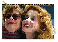 Susan Sarandon And Geena Davies Alias Thelma And Louis - Watercolor Carry-all Pouch by Doc Braham