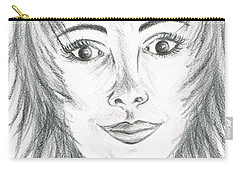 Carry-all Pouch featuring the drawing Portrait Stunning by Teresa White