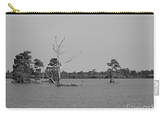 Carry-all Pouch featuring the photograph Swamp Cypress Trees Black And White by Joseph Baril
