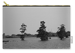 Carry-all Pouch featuring the photograph Swamp Tall Cypress Trees Black And White by Joseph Baril