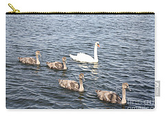 Carry-all Pouch featuring the photograph Swan And His Ducklings by John Telfer
