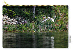 Carry-all Pouch featuring the photograph Swan In Flight by Eleanor Abramson