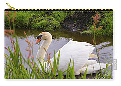 Swan In Water In Autumn Carry-all Pouch