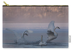 Carry-all Pouch featuring the photograph Swans Chasing by Patti Deters