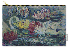 Carry-all Pouch featuring the painting Swans In Lilies  by Avonelle Kelsey