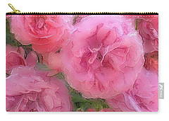 Carry-all Pouch featuring the mixed media Sweet Pink Roses  by Gabriella Weninger - David
