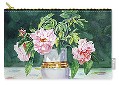 Carry-all Pouch featuring the painting Sweet Tea Roses Bouquet by Irina Sztukowski