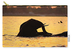 Carry-all Pouch featuring the photograph Swimming Kalahari Elephants by Amanda Stadther