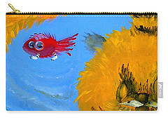 Carry-all Pouch featuring the painting Swimming Of A Yellow Cat by Marina Gnetetsky