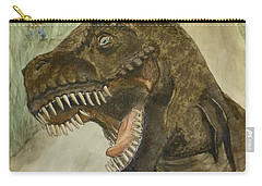 Carry-all Pouch featuring the painting T-rex..... Run by Kelly Mills